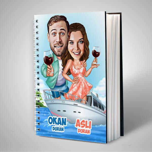 Mavi Aşk Turu Karikatürlü Sevgili Defteri