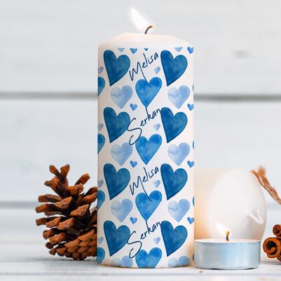 - Mavi Kalpler İsme Özel Mum