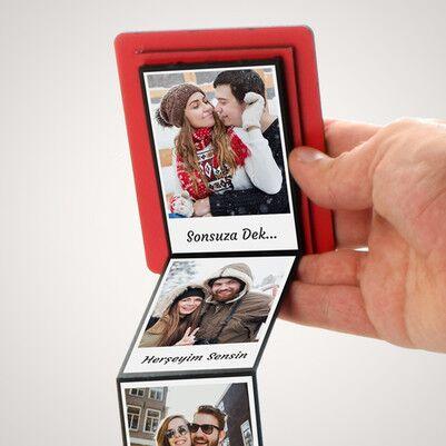 Mesaj ve Fotoğraf Baskılı Kırmızı Akordiyon Kutu - Thumbnail