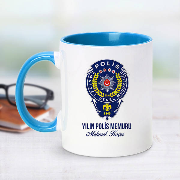 Mesajlı Polis Logolu Mavi Kupa Bardak