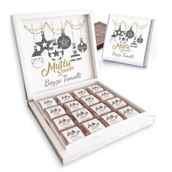 Mesajlı ve İsme Özel Yılbaşı Çikolata Kutusu