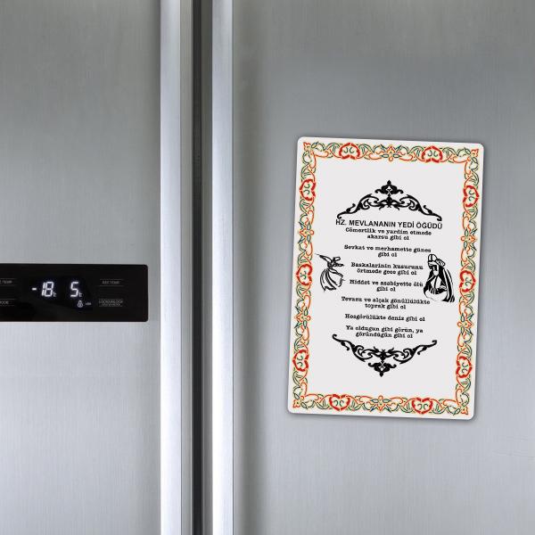 Mevlana'dan 7 Öğüt Yazılı Buzdolabı Magneti