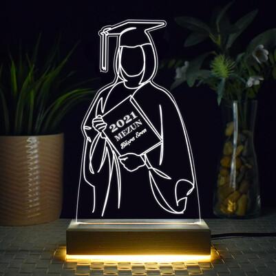 - Mezun Kız Öğrenci Tasarımlı 3d Led Lamba