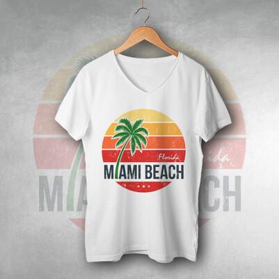 Miami Beach Tasarım Tişört - Thumbnail