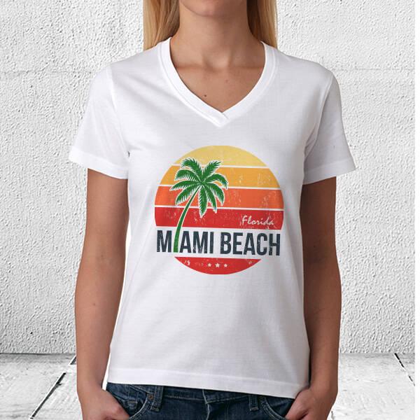 Miami Beach Tasarım Tişört