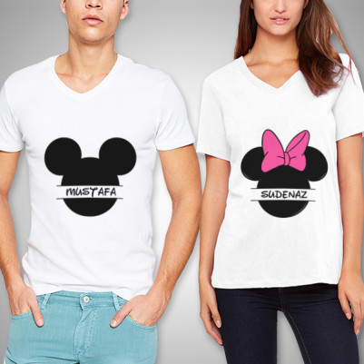 - Minnie And Mickey Sevgili Tişörtleri