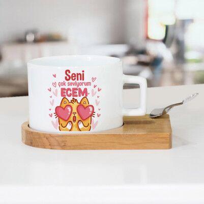 - Minnoş Kedicik Sevgililere Özel Çay Fincanı
