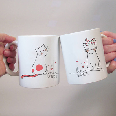 - Minnoş Kedicikler 2'li Sevgili Kupaları