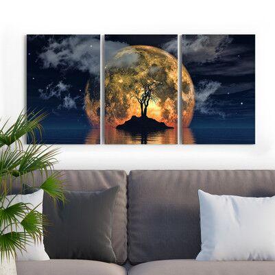 Moonlight 3 Parça Kanvas Tablo - Thumbnail