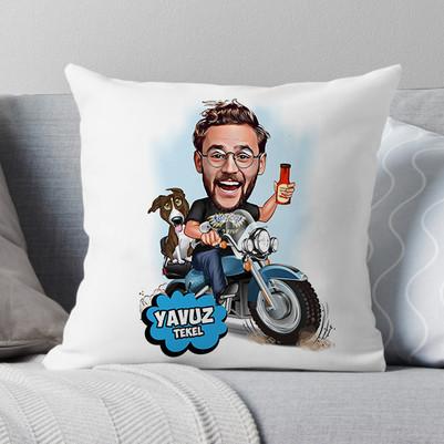 - Motorcu Adam Karikatürlü Yastık