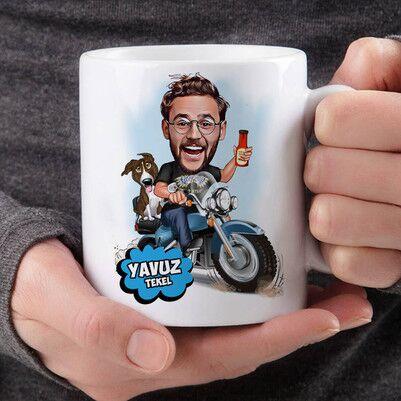 - Motorcu Karikatürlü Kupa Bardak