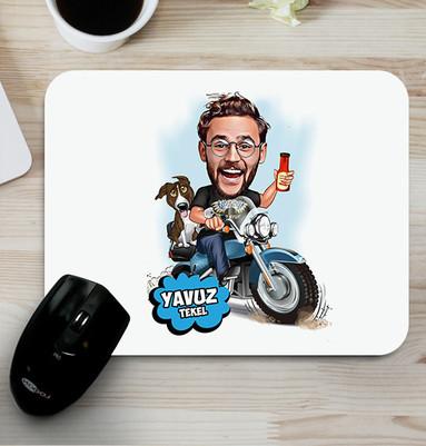 - Motorcu Karikatürlü Mouse Pad
