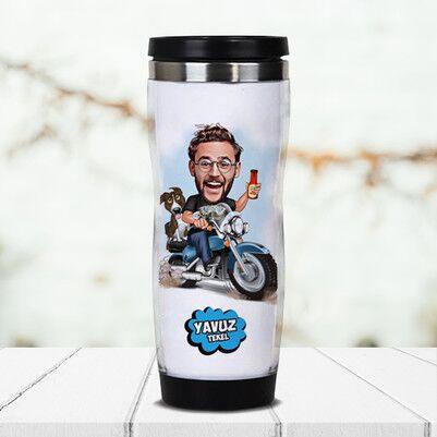 - Motorcu Karikatürlü Termos Bardak