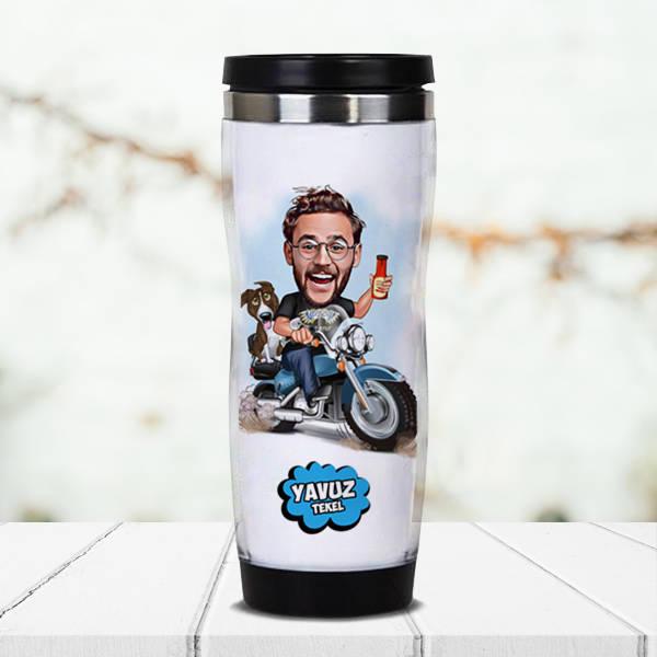 Motorcu Karikatürlü Termos Bardak