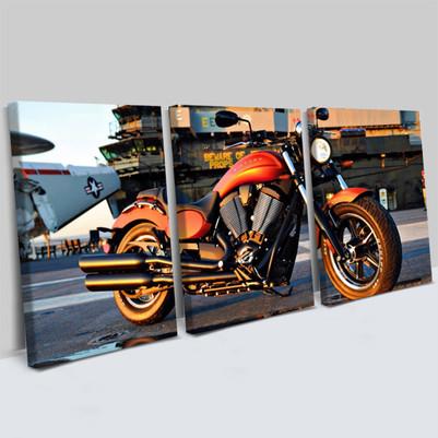 - Motosiklet Tasarımlı 3 Parça Kanvas Tablo