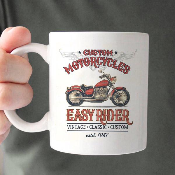 Motosiklet Temalı Seramik Kahve Kupası