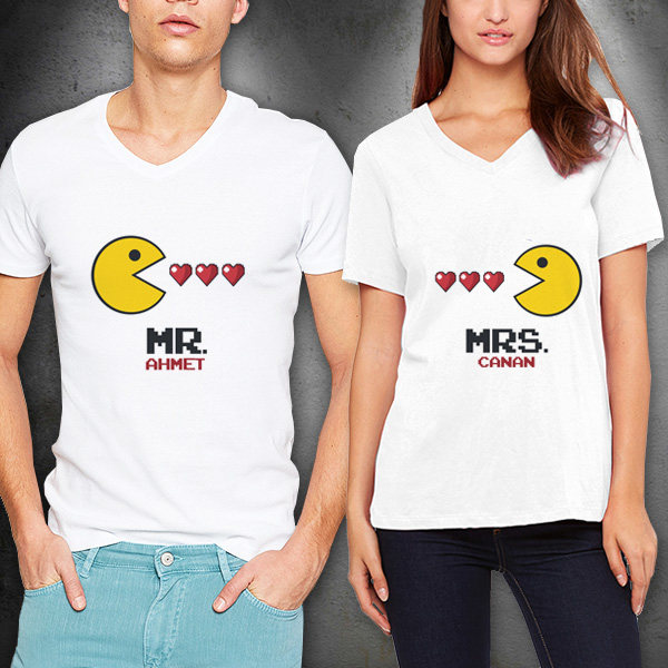 Mr. And Mrs. Pacman Sevgili Tişörtleri