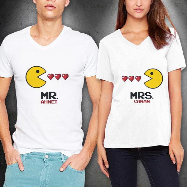 Mr. And Mrs. Pacman Sevgili Tişörtleri