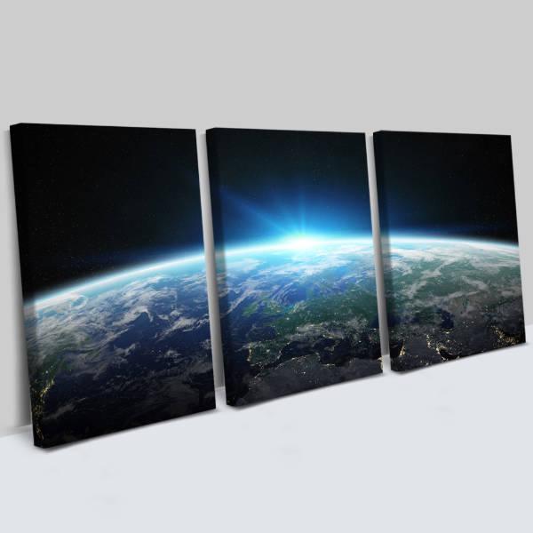 Muhteşem Gezegenimiz 3 Parça Kanvas Tablo