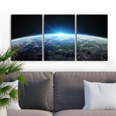 Muhteşem Gezegenimiz 3 Parça Kanvas Tablo - Thumbnail