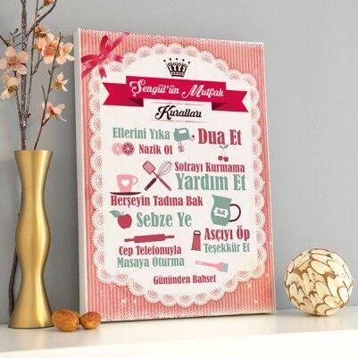 - Mutfak Kuralları Kanvas Tablo