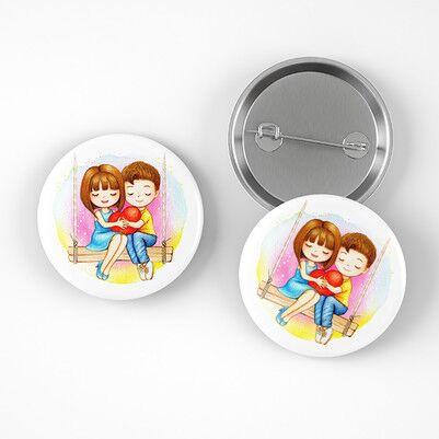 Mutlu Aşıklar İğneli Buton Rozet - Thumbnail