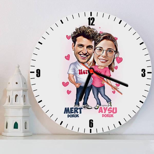 Mutlu Aşıklar Karikatürlü Duvar Saati