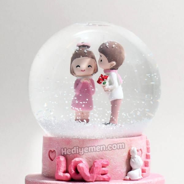 Mutlu Aşıklar Sevgiliye Hediye Kar Küresi K01