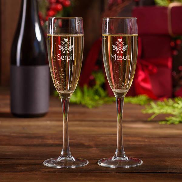 Mutlu Çiftler 2'li Şampanya Kadehi