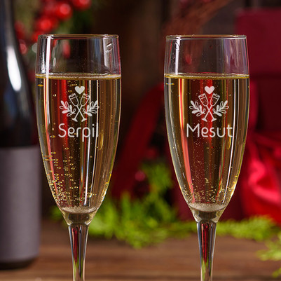 Mutlu Çiftler 2'li Şampanya Kadehi - Thumbnail