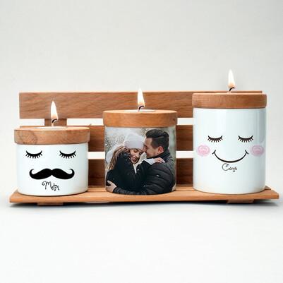 - Mutlu Çiftler Fotoğraflı Mumluk Seti