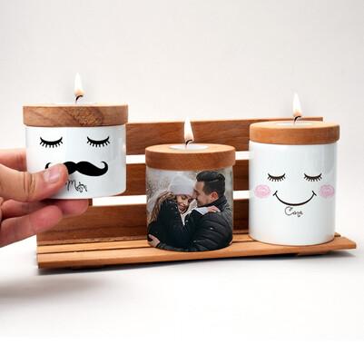 Mutlu Çiftler Fotoğraflı Mumluk Seti - Thumbnail