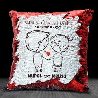 Mutlu Çiftler İsme Özel Sihirli Yastık - Thumbnail