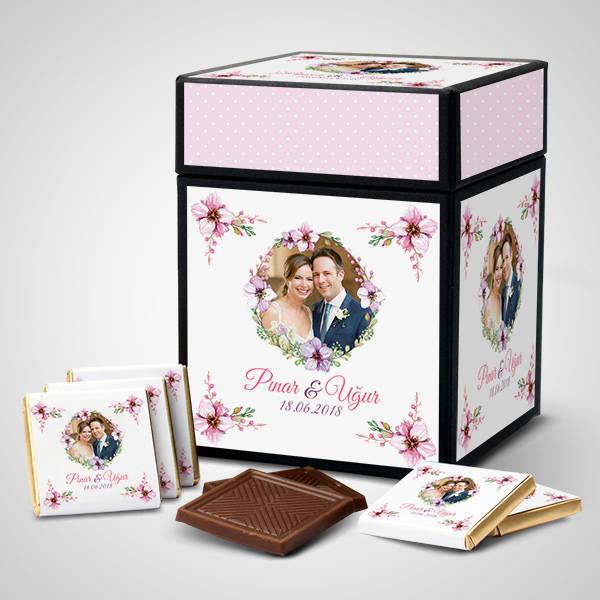 Mutlu Çiftler Kişiye Özel Çikolata Kutusu