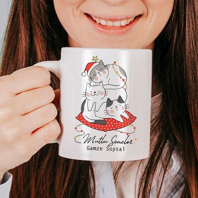 - Mutlu Kedicikler Yılbaşı Kupa Bardak