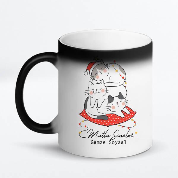 Mutlu Kedicikler Yılbaşı Kupa Bardak