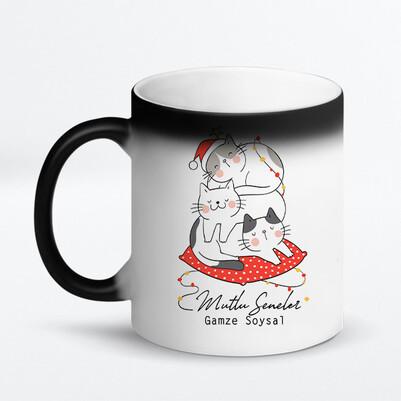 Mutlu Kedicikler Yılbaşı Kupa Bardak - Thumbnail