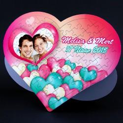 Mutlu Sevgililer 99 Parça Kalp Puzzle - Thumbnail