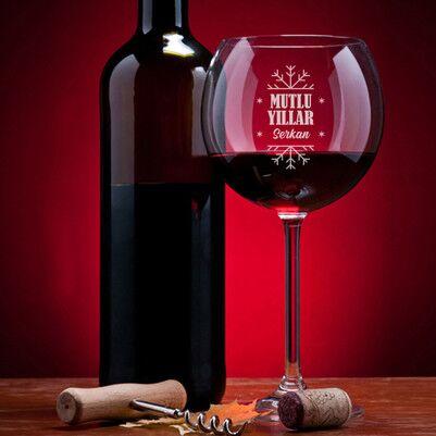 - Mutlu Yıllar Kişiye Özel Şarap Kadehi