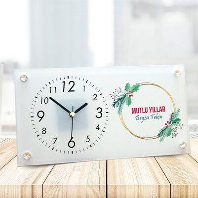 - Mutlu Yıllar Tasarım Cam Masa Saati