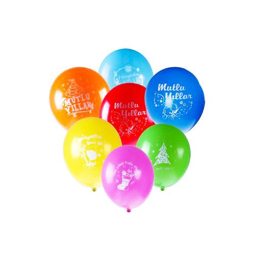 Mutlu Yıllar Yazılı Renkli Balonlar