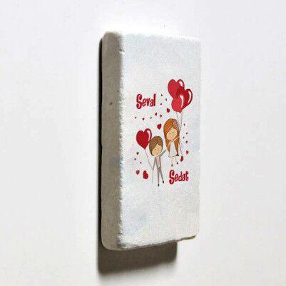 Mutluluğa Uçalım Taş Buzdolabı Magneti - Thumbnail