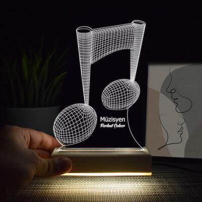 - Müzik Notası Tasarımlı 3D Led Lamba