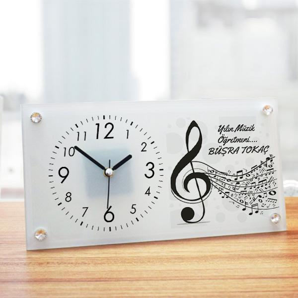 Müzik Öğretmenine Hediye Cam Masa Saati