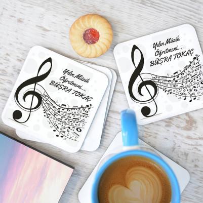 - Müzik Öğretmenlerine Hediye Bardak Altlığı Seti