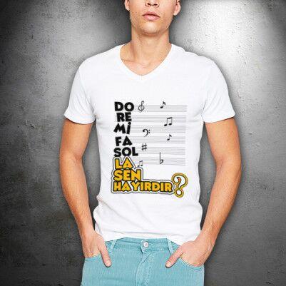 - Müzik Temalı Esprili Erkek Tişörtü