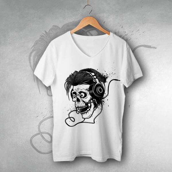 Müziksever Kuru Kafa Tasarım Tişört
