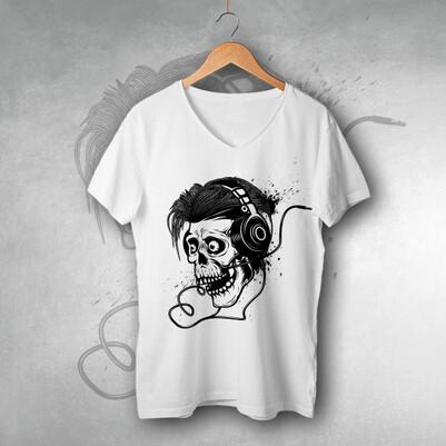 - Müziksever Kuru Kafa Tasarım Tişört