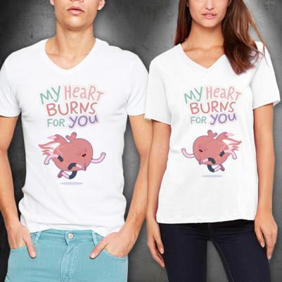 - My Heart Burns For You Sevgili Tişörtleri