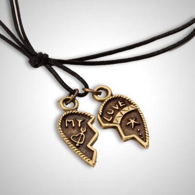 - My Love 2 Parçalı Kalp Tasarımlı Kolye